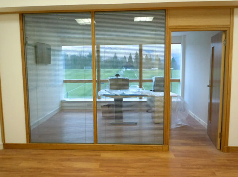 Glass Partitions with New Office Space